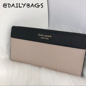 KATE SPADE BLK LARGE SLIM BIFOLD WALLET WARM BEIGE